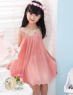 Mädchen Kleid einfarbig Baumwolle Sommer / Frühling / Herbst Grün / Rosa