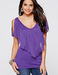 Enfärgad Kortärmad T-shirt Kvinnors V-hals Polyester / Chiffong
