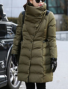 Women's Solid Black / Green / Beige Parka Coat , Vintage / Casual / Cute / Party / Work / Plus Sizes Stand Long Sleeve