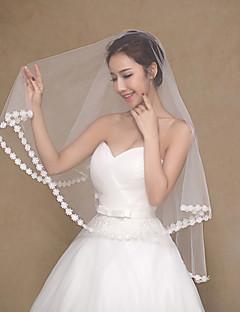 הינומות חתונה שכבה אחת צעיפי אצבע אפליקצית קצה תחרה טול / תחרה שנהב