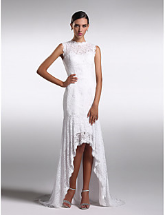 Formal Evening Dress - Ivory Plus Sizes / Petite Sheath/Column Jewel Asymmetrical Lace
