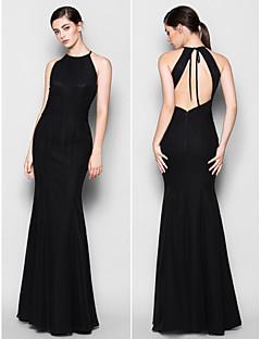 Lanting golv längd chiffong brudtärna klänning - svart plus storlekar / nätt trumpet / sjöjungfrun grimma / juvel