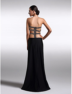 Formal Evening Dress - Plus Size / Petite Sheath/Column Strapless Floor-length Knit