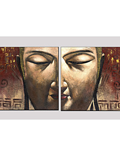 Oil Painting Set of 2 Buddha Style ,Canvas Material with Stretched Frame Ready To Hang SIZE:70*70CM*2PCS .