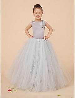 Ball Gown Floor-length Flower Girl Dress - Satin / Tulle Sleeveless Square with