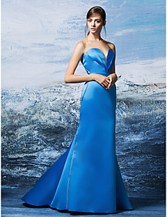 TS Couture® Formal Evening Dress Plus Size / Petite Trumpet / Mermaid Sweetheart Sweep / Brush Train Satin with Criss Cross