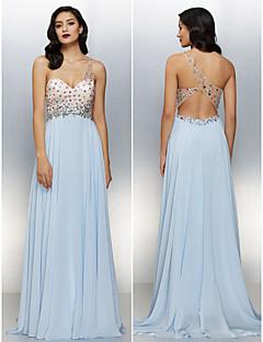 동창회 공식적인 저녁 드레스 - 스카이 블루 라인 어깨 하나 층 길이 쉬폰