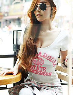 Women's Vintage/Sexy/Beach/Casual/Print/Cute/Party/Work   Short Sleeve Regular T-shirt