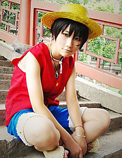Inspirerad av One Piece Monkey D. Luffy Animé Cosplay Kostymer/Dräkter cosplay Suits Lappverk Röd / Blå Ärmlös Väst / Shorts