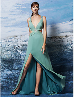 Formal Evening Dress - Jade Plus Sizes / Petite Sheath/Column V-neck Sweep/Brush Train Georgette