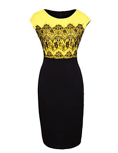 Women's Sexy Bodycon Casual Lace Cute Party Work/Plus Sizes Micro Elastic Short Sleeve Knee-length Dress (Lace/Cotton)