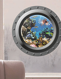 Wall Stickers Wall Decals, 3D Ocean Fishes Window PVC Wall Sticker