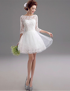 A-line Wedding Dress See-Through Short / Mini Bateau Lace with Beading