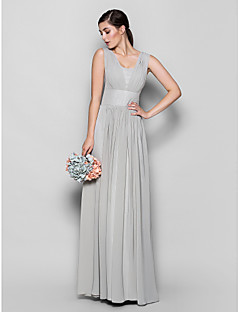 LAN TING BRIDE Floor-length Chiffon Bridesmaid Dress - Sheath / Column Square Plus Size / Petite with Draping