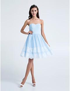 동창회 무릎 길이 쉬폰 들러리 드레스 - 스카이 블루 라인 끈