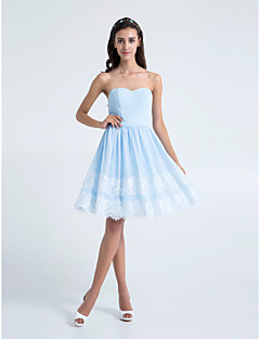 lanting 무릎 길이 쉬폰 들러리 드레스 - 스카이 블루 플러스 크기 / 아담 A 라인 끈