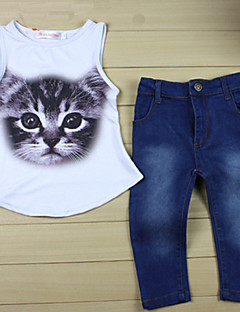 Girl's Summer/Spring/Fall Micro-elastic Medium Sleeveless Clothing Set (Cotton/Denim/Polyester)