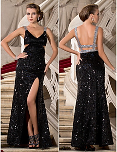 Formal Evening/Military Ball Dress - Black Plus Sizes Sheath/Column V-neck/Straps Floor-length Sequined