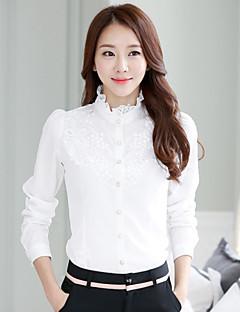 Dámské Jednobarevné / Žakár Společenské Jednoduché Košile-Léto Stojáček Dlouhý rukáv Bílá Tenké