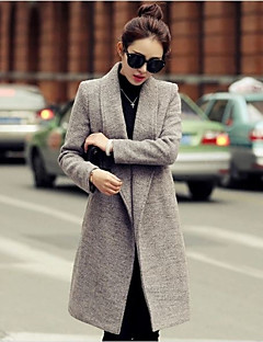 Women's Vintage Coat,Solid Shirt Collar Long Sleeve Winter Red / Gray / Purple Wool / Others Medium