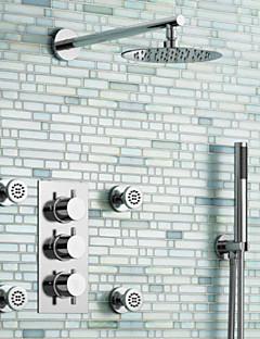 American Standard ברז למקלחת/ברז לאמבטיה עכשווי LED/מפל/תרמוסטטי/מקלחת גשם/התזת צד/שפורפרת יד כלולה Brass כרום