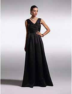 TS Couture Formal Evening Dress - Black Plus Sizes / Petite A-line V-neck Floor-length Satin