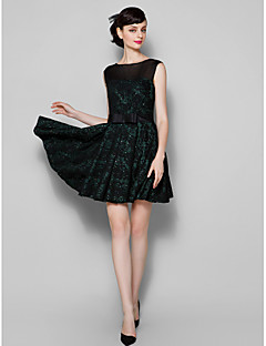 Cocktail Party Dress - Black Plus Sizes / Petite A-line Jewel Short/Mini Lace / Tulle