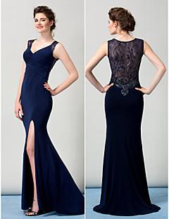TS Couture Formal Evening Dress - Sheath/Column V-neck Tea-length/Floor-length Lace