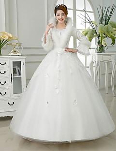 סאטן -v-צוואר שמלת נשף קומת אורך שמלת כלה