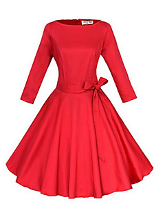 Women's Party/Cocktail Vintage Skater Dress,Solid Boat Neck Knee-length ¾ Sleeve Blue Red Black Cotton Others All Seasons Mid Rise