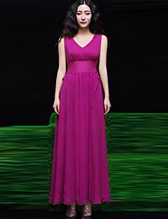 Women's V Neck  Solid Color Ankle Length  Dress