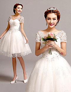 A-line Wedding Dress Short / Mini V-neck Tulle with