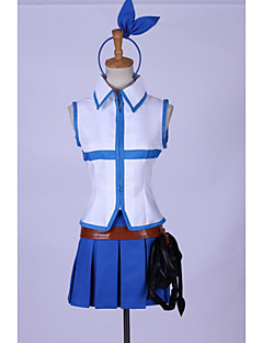 Inspired by Fairy Tail Lucy Heartfilia Anime Cosplay Costumes Cosplay Suits Patchwork Blue SleevelessTop / Skirt / Headpiece / Waist