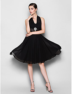 Lanting Knee-length Chiffon Bridesmaid Dress - Black Plus Sizes / Petite A-line Halter