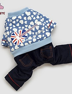 Manteaux/Pantalon - Chiens/Chats - Mariage/Cosplay - Bleu - en Coton/Polaire -