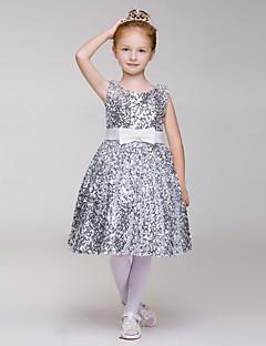 A-Lijn Knie-Lengte Bloemenmeisje jurk - Lovertjes/Polyester Mouwloos