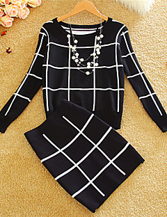 Women's Casual/Daily Vintage Regular Dress,Check Multi-color Round Neck Long Sleeve Cotton Winter Thick Micro-elastic