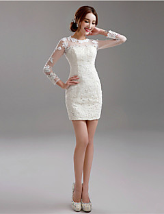 Sheath / Column Wedding Dress Little White Dresses Short / Mini Jewel Lace with Appliques
