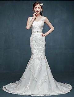 Trumpet/Mermaid Wedding Dress - Ivory Sweep/Brush Train V-neck Lace