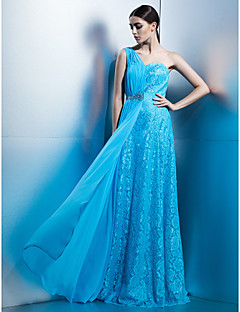 Vestido - Azul Festa Formal Tubo/Coluna Assimétrico Longo Chiffon/Renda