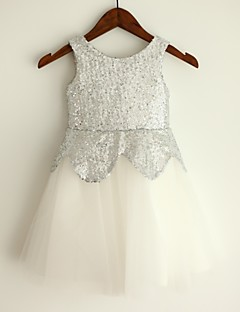 Princess Knee-length Flower Girl Dress - Tulle / Sequined Sleeveless Jewel with
