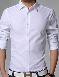 Мужской Однотонный Рубашка На каждый день / Для офиса / Для торжеств и мероприятий,Хлопок,Длинный рукав,Черный / Синий / Розовый / Белый
