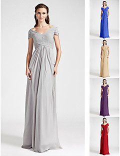 Bridesmaid Dress Floor Length Chiffon Sheath Column Off the Shoulder Dress