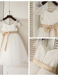 A-line Tea-length Flower Girl Dress - Lace/Tulle Short Sleeve