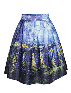Spandex/Polyester - Micro-elastisch - Vintage/Casual/Print/Schattig/Feest - Boven de knie - Vrouwen - Rokken