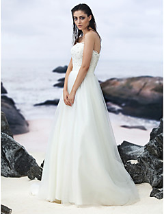 A-line Sweep/Brush Train Wedding Dress - Strapless Lace/Tulle