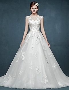 Ball Gown Wedding Dress - White Court Train Bateau Tulle