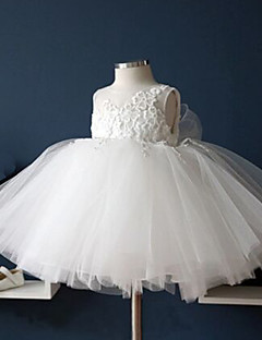 Ball Gown Tea Length Flower Girl Dress - Cotton Lace Tulle Sleeveless Jewel Neck with Lace