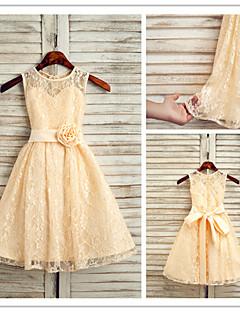 A-line Princess Jewel Ankle-length Lace Flower Girl Dress