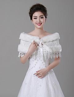 Wedding  Wraps Stoles Faux Fur Ivory